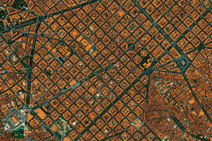 Building Footprint example of Ecopia GFX Powered by European Space Imaging