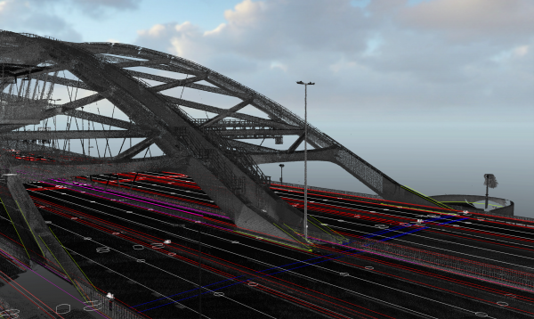 All the data was converted into a 3D point cloud, which was subsequently used to design a complete DTM of the bridge from above.