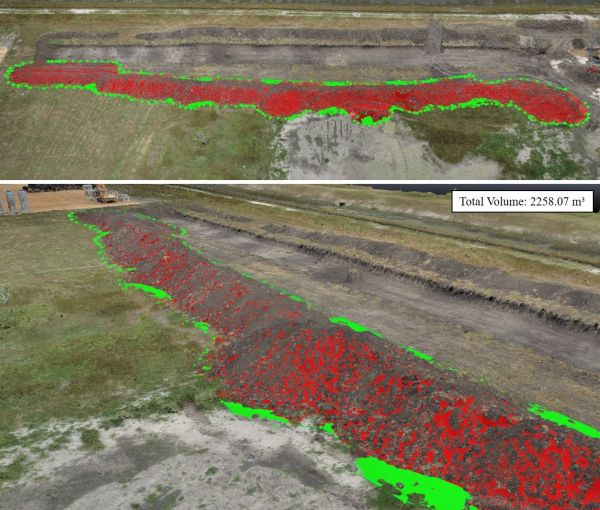 Figure 4: The 3D point cloud was used to estimate the volume of stockpiles.