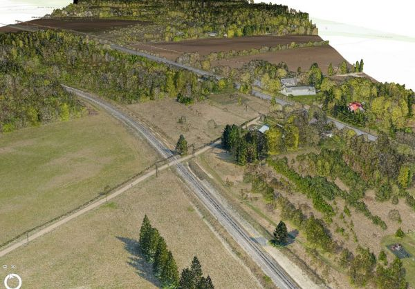 Existing situation terrain model: Orthophoto and Lidar point cloud.
