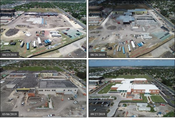Figure 5: Progress photos of the construction of a high school.