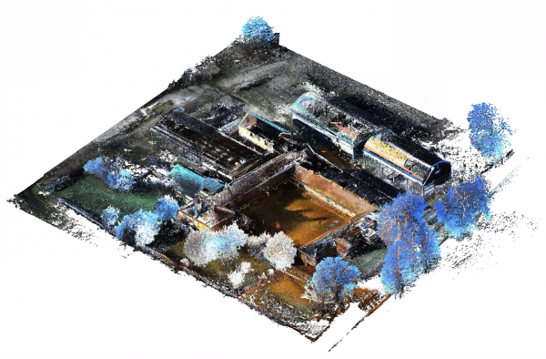 Colorized point clouds with high point density, low point noise, full environmental coverage, and even detail, generated by a PX-80 handheld scanner.