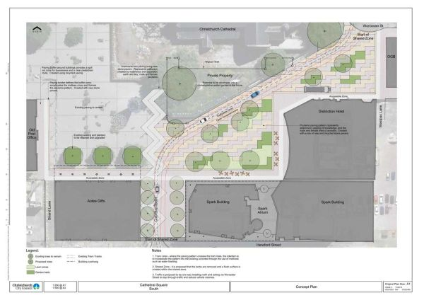 A plan to rejuvenate Cathedral Square, developed by the Christchurch City Council.