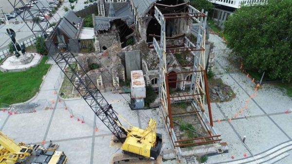 The drone flight captured the damaged Cathedral.