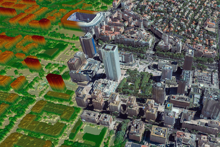 RapidDEM HD Image over Madrid Spain highlighting the textured 3D model on one side and the DEM on the other