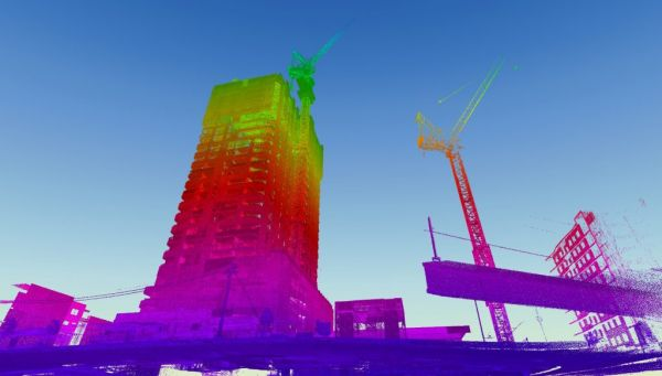 3D point cloud of a building under construction, generated by a Hovermap Lidar payload.