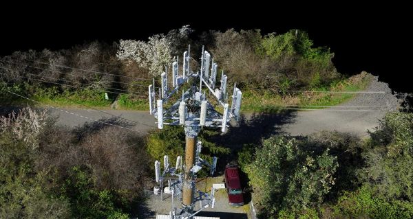3D point cloud resulting from a UAV photogrammetry cell tower inspection project. (Courtesy: Pix4D)