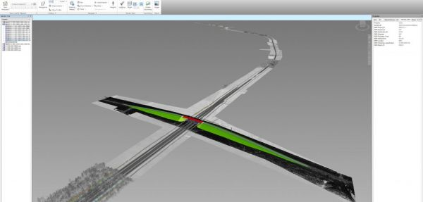 Value engineering stage. A federated BIM model, including a point cloud of the existing situation, a railway track embankment and alignments, and an overpass structure.