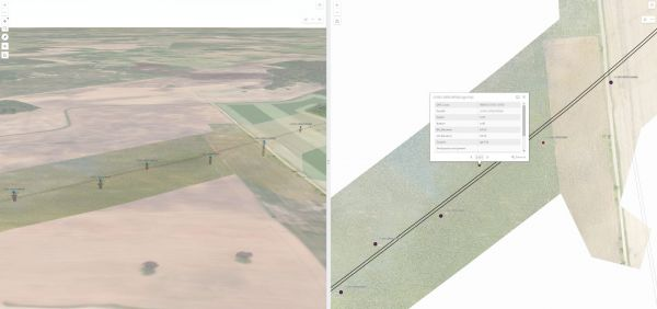 Site investigations stage. 3D/2D view in the GIS web interface for geotechnical site investigation.